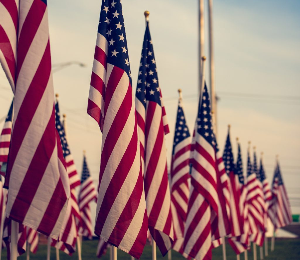 A row of american flags.