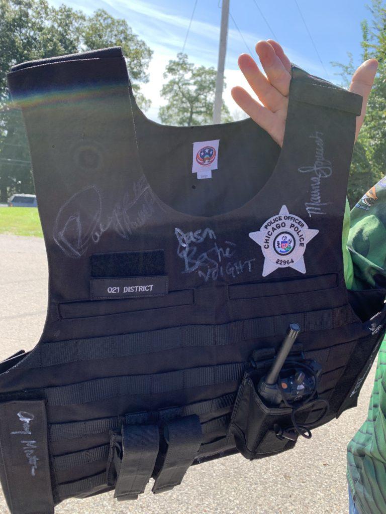 A police officer's bullet proof vest.